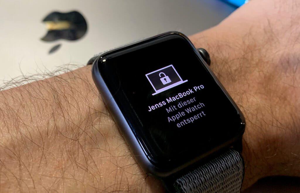 Ein extrem praktisches Feature: Mit der Apple Watch läßt sich der Mac – in meinem Fall das MacBook Pro – automatisch entsperren (Foto: Sir Apfelot).