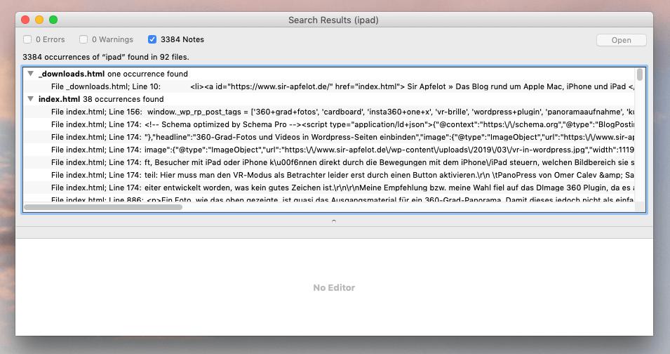 Die Ergebnisse von BBEdit dienen dann als Arbeitsgrundlage, um die entsprechenden Seiten in WordPress zu überarbeiten.
