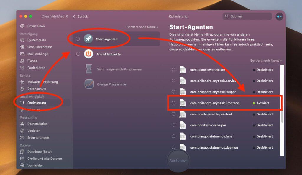 Über die Software CleanMyMac X lassen sich Start-Agenten ganz einfach per Klick deaktivieren.