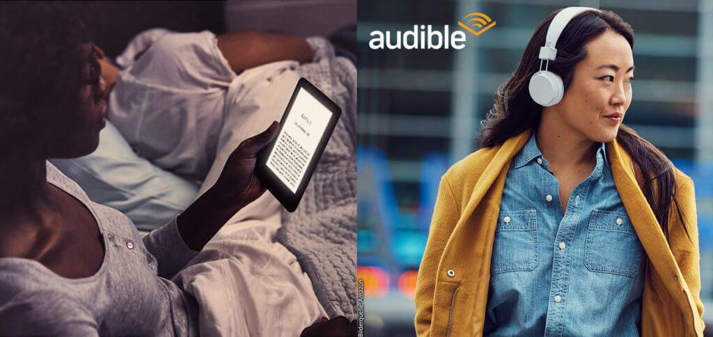 Der neue Amazon Kindle mit Frontlicht bringt gleich drei Vorteile: ein Display ohne Spiegeleffekte, aber mit LED-Beleuchtung sowie die Audible-Nutzung per Bluetooth für Hörbücher unterwegs.