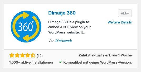 DImage 360 Plugin zum Anzeigen von 360 Grad Kugelpanoramen und VR-Videos in WordPress.