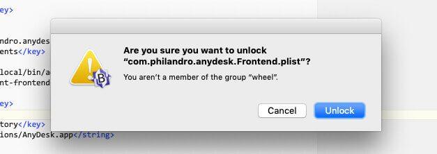 Beim Editieren der PLIST-Datei muss man sich vorher als Admin authentifizieren.
