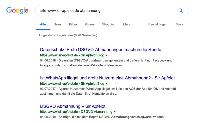 """Möchte man mit der Google-Suche eine Webseite durchsuchen, arbeitet man mit dem """"site:""""-Operator. Da ich die Kundenwebseite nicht nennen kann, habe ich hier beisielhaft mal das Sir Apfelot Blog nach """"Abmahnung"""" durchsucht."""
