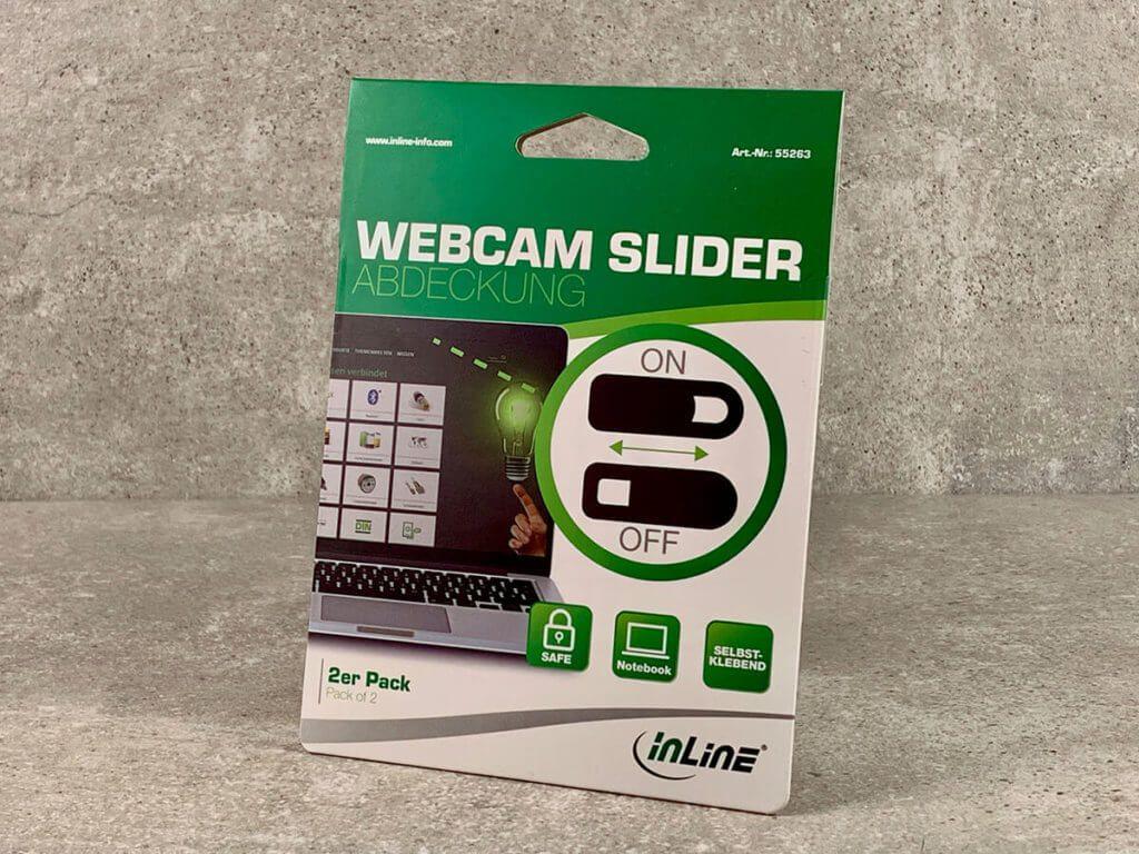 Auf dem Foto sieht man die Packung mit den zwei inLine Webcam-Abdeckungen (Fotos: Sir Apfelot).