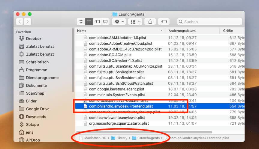 Im Ordner /Library/LaunchAgents/ findet man die PLIST-Datei von AnyDesk, in der festgelegt wird, ob das Programm beim Neustart des Mac mit startet.