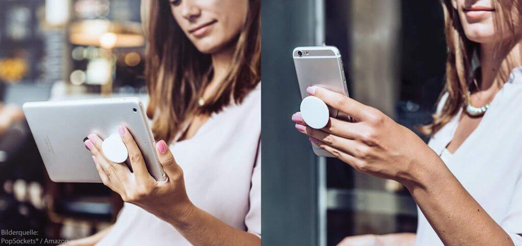 Neuer Trend für 2019: PopSockets® für Smartphone und Tablet. Die Halterung kann zusammengedrückt und bei Bedarf ausgefahren werden.
