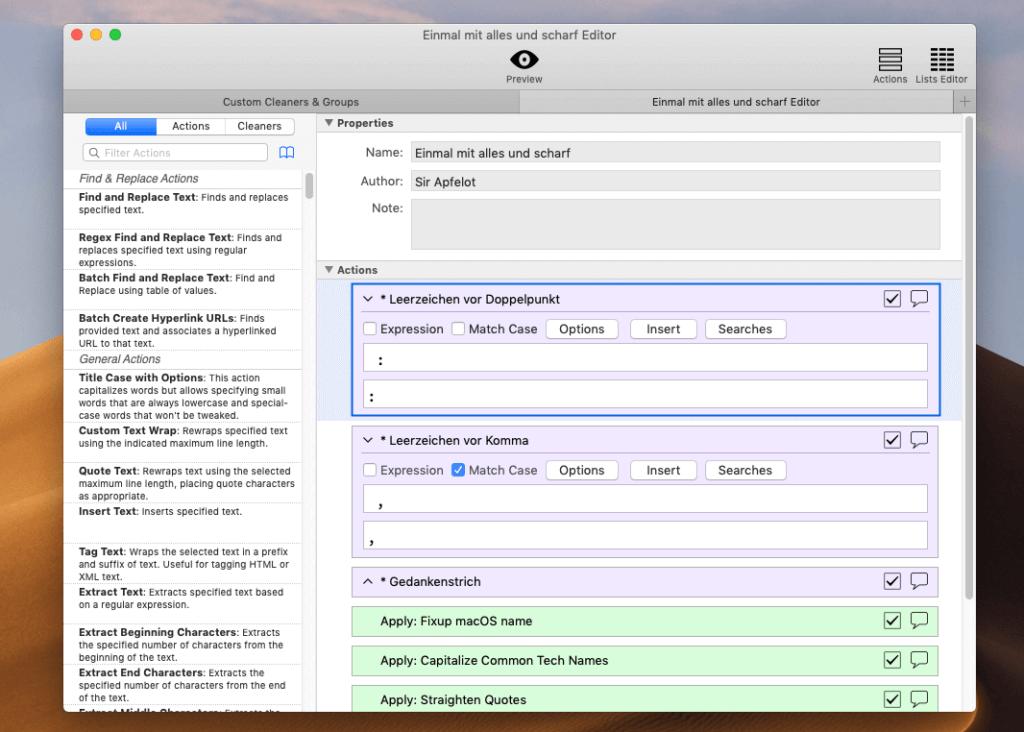 Sehr einfach und effektiv: In TextSoap kann man aus bestehenden Funktionen und eigenen Kreationen eine komplette Reinigungsroutine zusammenstellen, die dann mit einem Klick ausgeführt wird.