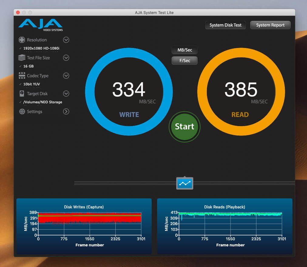 Die Messwerte, die ich mit AJA System Test ermittelt habe, lassen keine Wünsche offen: stabil deutlich über 300 MB pro Sekunde beim Lesen und Schreiben.