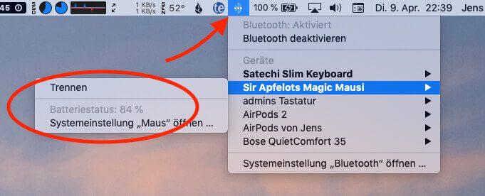 Am Beispiel der Apple Magic Mouse kann man hier sehen, dass der aktuelle Akkustand im Bluetooth-Menulet angezeigt wird.