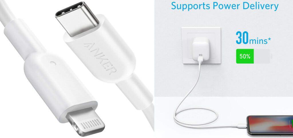 Das Anker Powerline II ist ein MFi-zertifiziertes USB-C auf Lightning Ladekabel, welches Power Delivery unterstützt. Bilder: Anker / Amazon