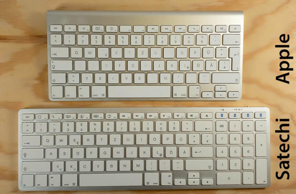 Hier sieht man das Apple Magic Keyboard (oben) im direkten Vergleich zur Satechi-Tastatur mit Nummernblock.