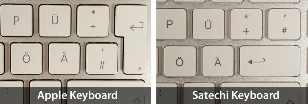 Auch die Raute- und die Return-Taste sind bei dem Satechi Keyboard etwas anders als beim Apple Magic Keyboard.