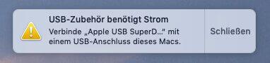 Das Apple SuperDrive möchte lieber direkt mit dem Mac verbunden werden.