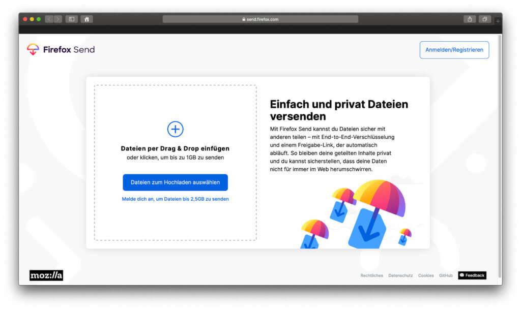 Mit Firefox Send haben die Mozilla-Leute einen Host-Service zum Hochladen von bis zu 2,5 GB geschaffen. Details dazu in diesem Beitrag!