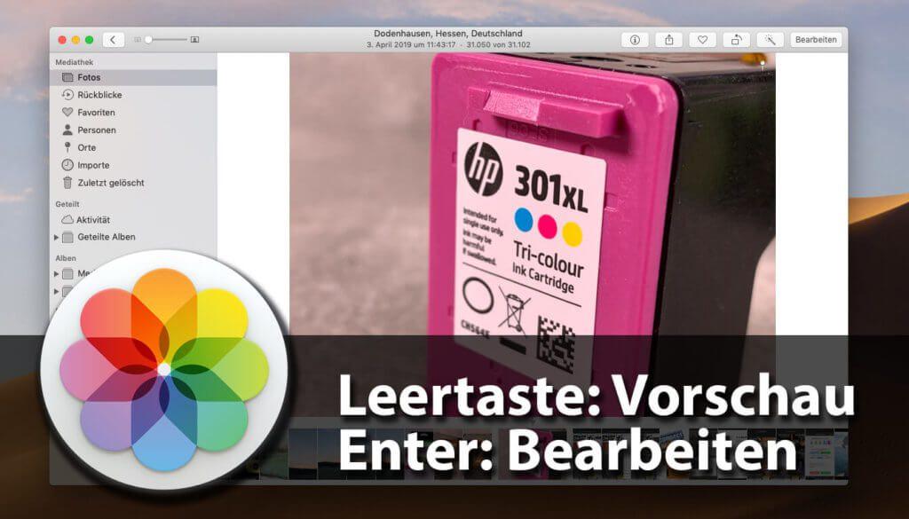 Englich wieder korrigiert: Die Tastenkürzel für Vorschau und Bearbeiten in der Fotos-App am Mac.