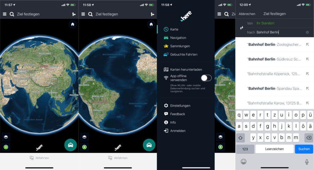 Navigation auf der ganzen Welt und das sogar mit Offline-Karten auf dem iPhone mit iOS oder Android-Smartphone. Here We Go Bedienungsanleitung