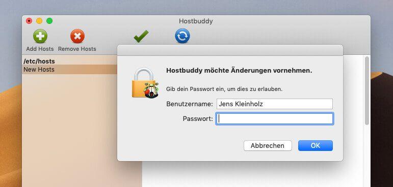 Wenn man die Änderungen in HostBuddy speichert, wird automatisch der DNS-Cache erneuert, wofür der Mac das Admin-Passwort möchte.