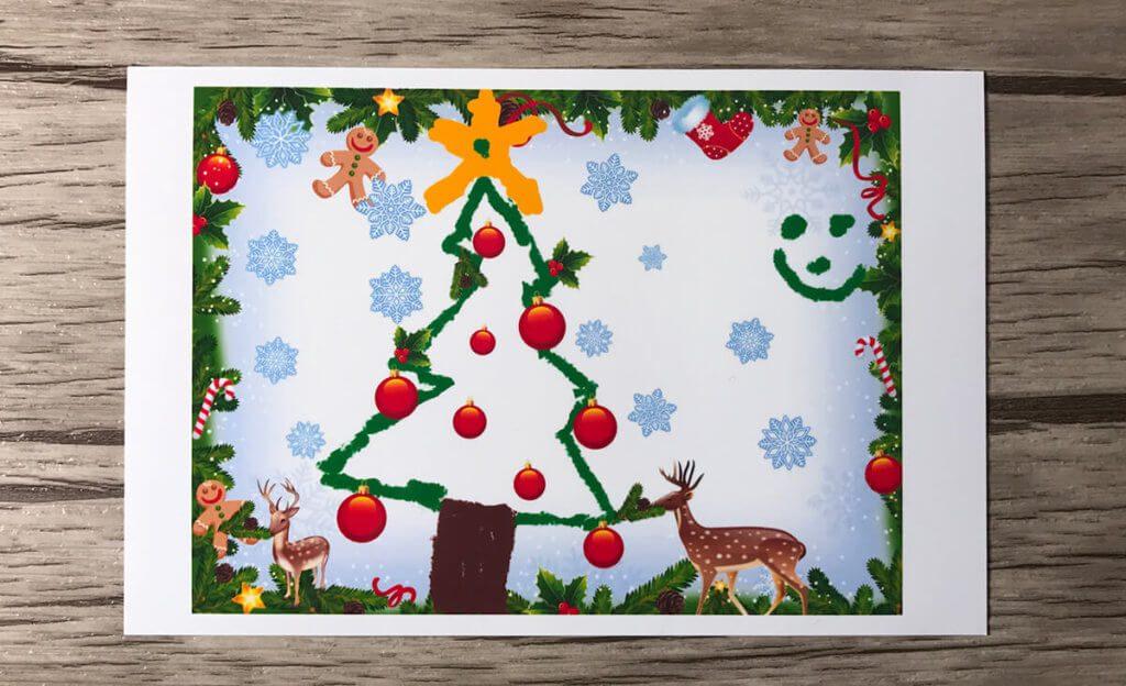 Der zweite Ausdruck ist eine Weihnachtskarte, die meine Kinder gestaltet haben. Auch hier sieht es von den Farben her gut aus. Die Auflösung ist ebenfalls mehr als ausreichend hoch.