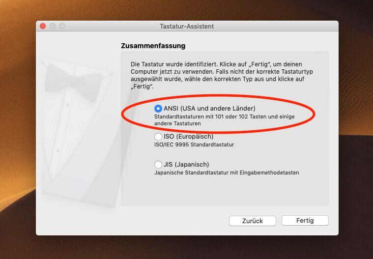 """Als Keyboard-Typ schlägt macOS """"ANSI"""" vor, was auch die richtige Wahl ist."""
