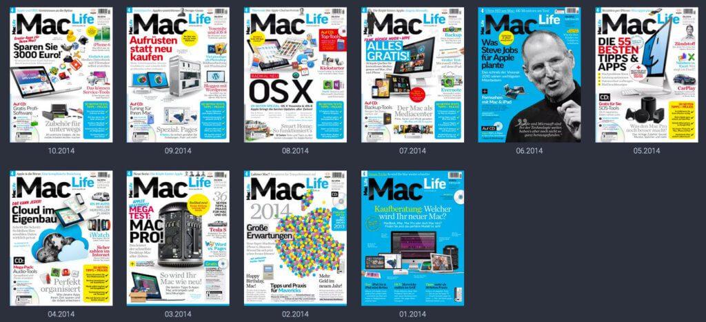 Das Archiv der Zeitschriften reicht viele Jahre zurück. Bei der Mac Life ist die erste Ausgabe die 01/2014.