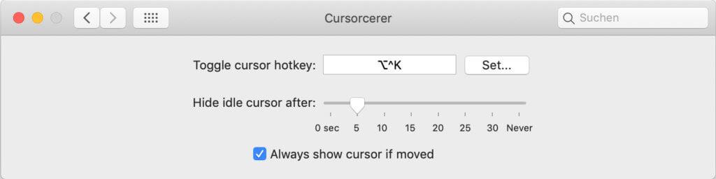 Screenshot von Cursorcerer 2.0 unter macOS 10.14 Mojave – hier seht ihr die beschriebenen Einstellungen.