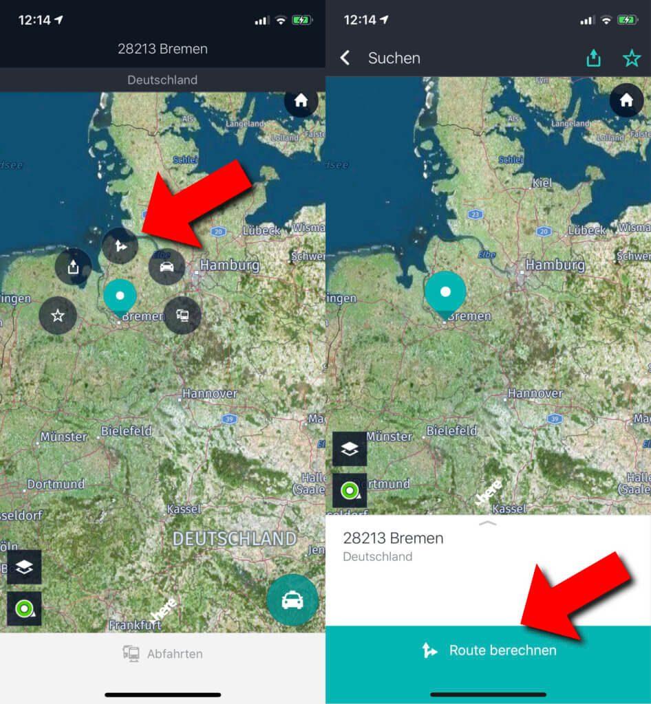 Die Route berechnen, indem das Ziel direkt auf der Karte ausgewählt wird – das ist auf verschiedenen Wegen möglich.
