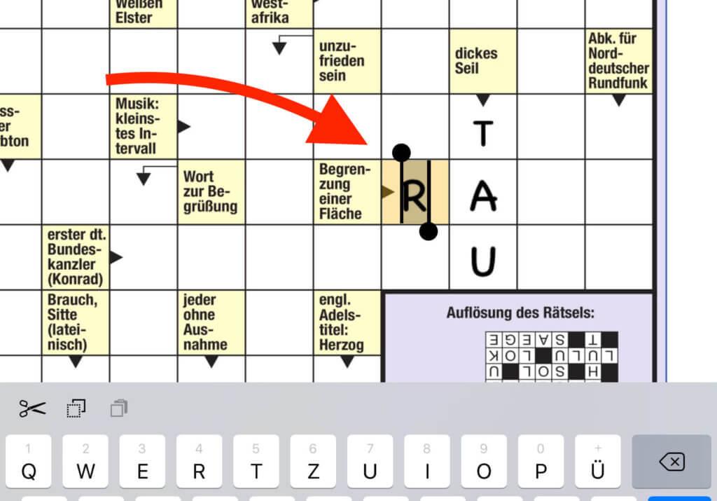 Selbst Kreuzworträtsel lassen sich in Radly bequem am iPad lösen.