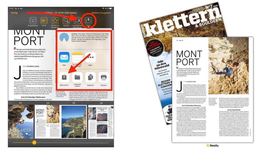 """Mit der Funktion """"Teilen"""" und in Fotos speichern, landet eine Grafik bestehend aus der entsprechenden Magazin-Seite und dem Cover der Ausgabe in der Fotomediathek. Die Auflösung ist hoch genug, um den Text lesen zu können."""