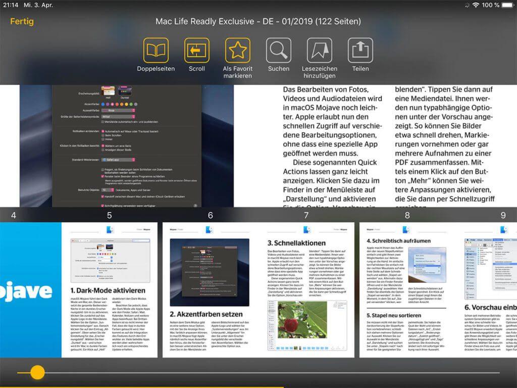 Tippt man beim Lesen einer Zeitschrift auf das Display, öffnet sich das Userinterface. Darüber kann man oben die Zeitschrift zu den Favoriten hinzufügen, ein Lesezeichen setzen oder auch das Sharesheet öffnen. Im unteren Bereich werden alle Seiten des Magazins als Thumbnail dargestellt. Über den Slider kann man schnell im Heft blättern.