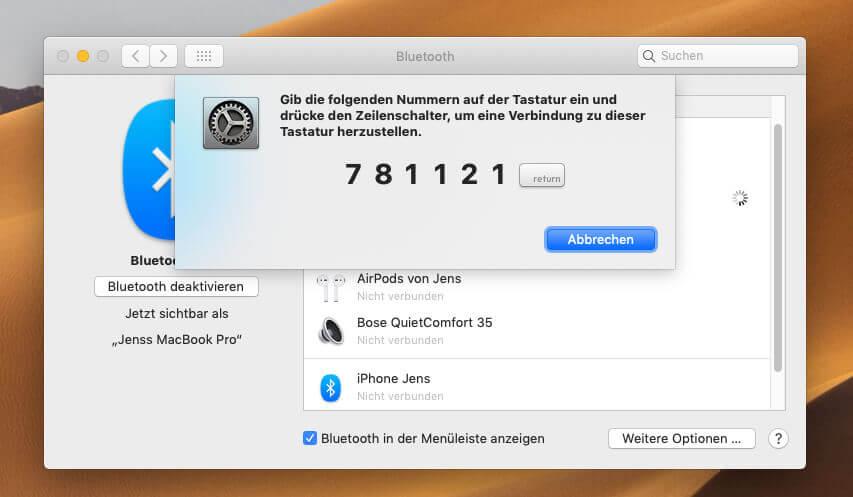 Nach dem EIntippen der Nummer ist die Satechi-Tastatur per Bluetooth mit dem Mac verbunden.
