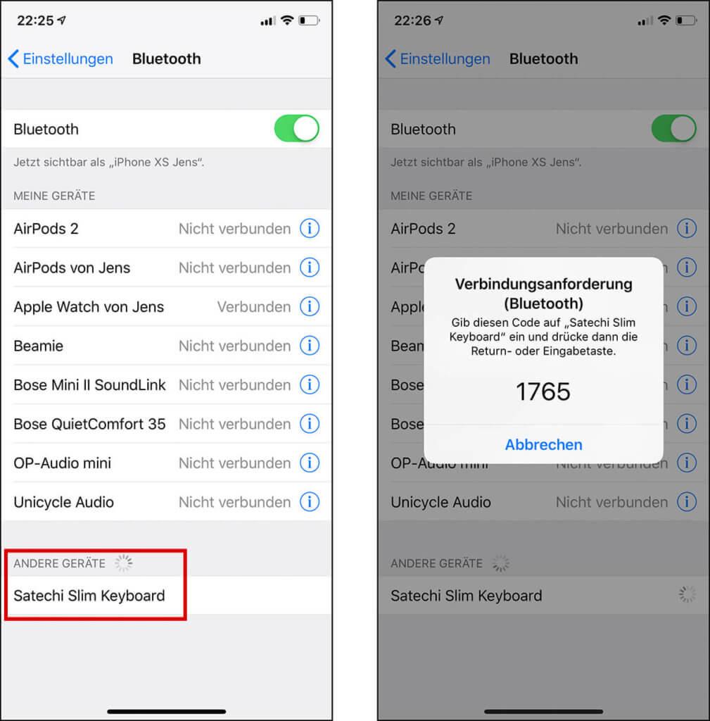 Die Kopplung der Tastatur mit dem iPhone oder iPad geht sehr einfach über die Bluetooth-Einstellungen des iOS-Geräts.