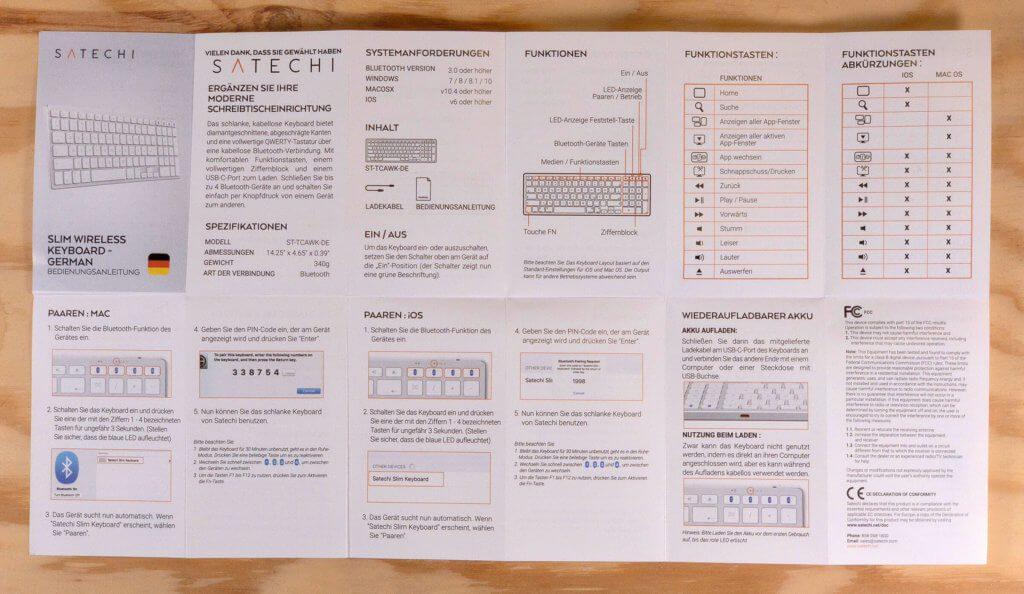 Die Bedienungsanleitung zum Satechi Slim Wireless Keyboard habe ich euch extra-hochauflösend als Datei eingebunden, damit sie euch eventuell runterladen und ausdrucken könnt.