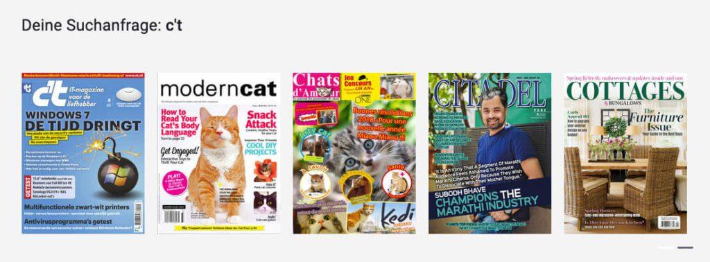 Die Suche nach dem Magazin c't bringt leider nur die holländische Ausgabe als Ergebnis.