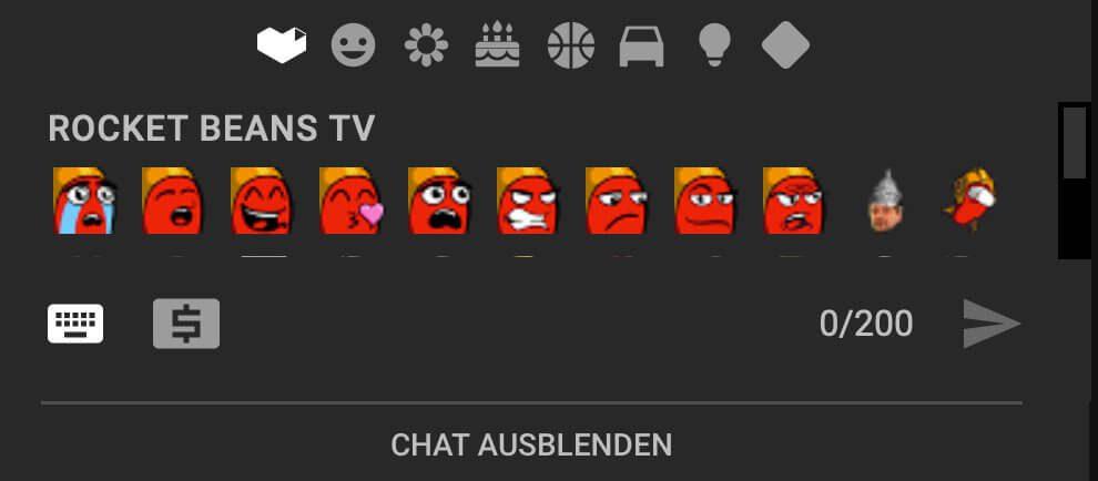 Mögliche Zusatz-Emojis, mit denen sich Mitglieder kanalspezifisch im Live-Chat des YT-Streams austauschen können. (Screenshot von einem RBTV-Mitglied zur Verfügung gestellt.)