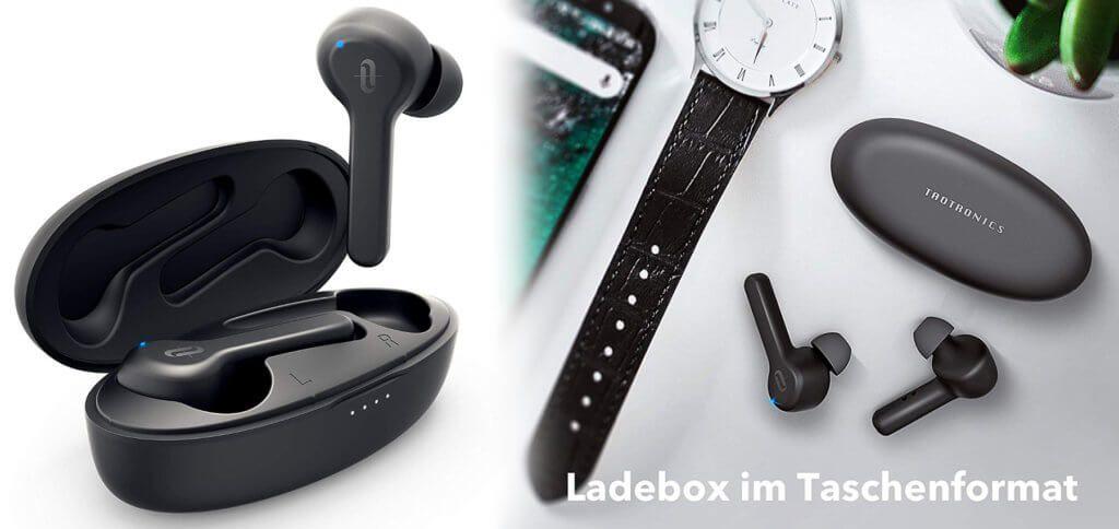 Die TaoTronics True Wireless In-Ear-Kopfhörer (Modell: TT-BH053) als AirPods 2 Alternative bieten viele Vorteile und verkraftbare Nachteile. Alle Details und wichtige technische Daten findet ihr hier. (Bilder: TaoTronics / Amazon)