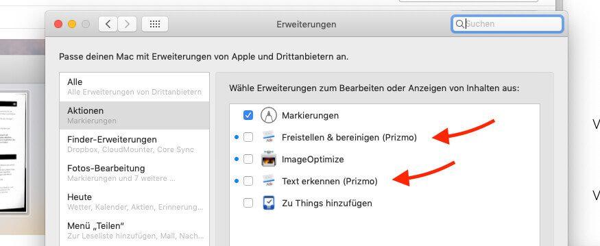 Mit den Erweiterungen von Prizmo kann man eine Texterkennung direkt in Apple Mail auf Bilddateien in einer Mail laufen lassen.