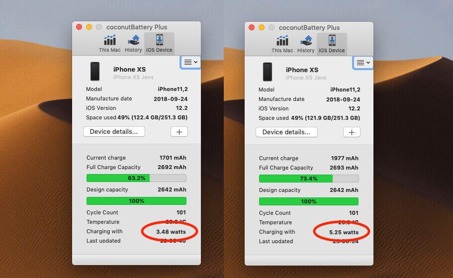 Links sieht man den CococnutBattery-Screenshot beim Laden mit dem Magnetic Battery Case und rechts beim Laden mit einem üblichen USB-Ladegerät (ohne USB-PD). Der Unterschied ist nicht sehr groß.