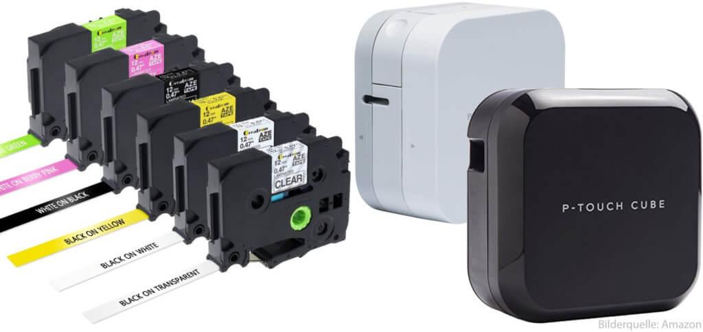 Die Beschriftungsgeräte bzw. Etikettiergeräte Brother P-Touch Cube und Brother P-Touch Cube Plus im Vergleich findet ihr hier. Zudem findet ihr hier die passenden TZe-Druckbänder.