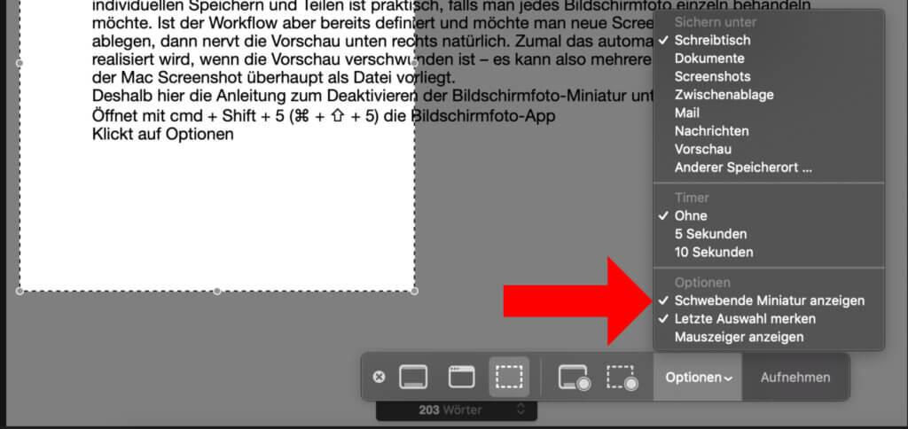 Über die Bildschirmfoto-App des Betriebssystems könnt ihr mehrere Einstellungen vornehmen.