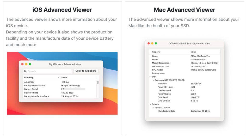 Der Advanced Viewer von Coconut Battery entlockt mehr Daten über das iPHone, iPad oder den Mac.