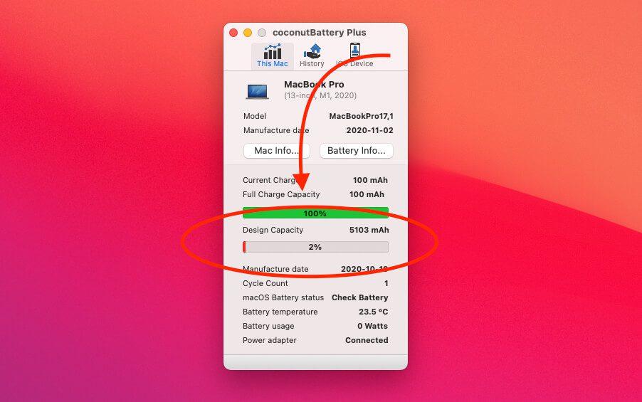 Eine Full-Charge Capacity von 100 mAh kann schlicht weg nicht real sein, denn selbst die Apple Watch hat schon über 170 mAh.