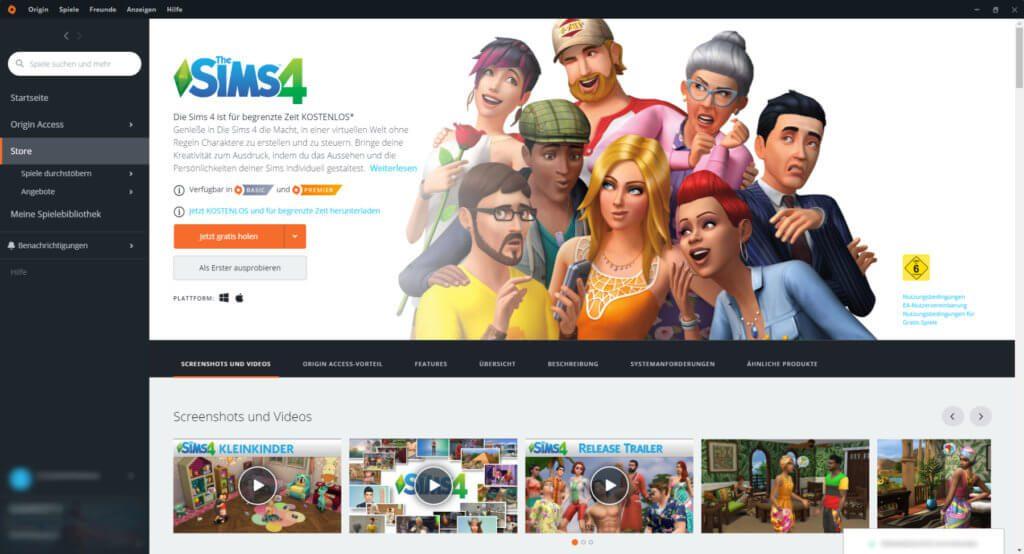 Die Sims 4 kostenlos herunterladen: den Gratis-Download findet ihr im EA-Client Origin. Screenshot: Sir Apfelot