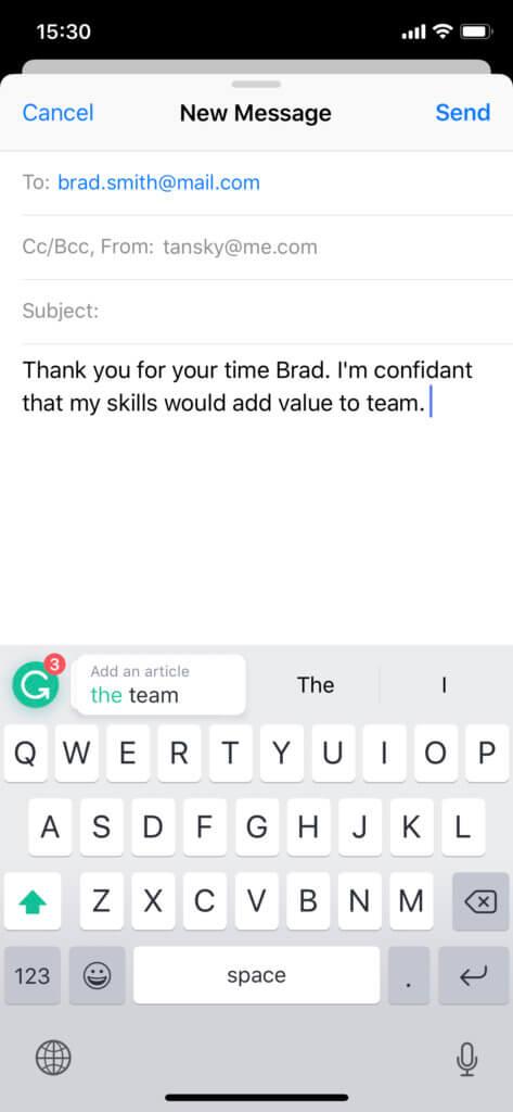 Das Grammarly Keyboard als Tastatur-App für iOS auf dem iPhone und iPad korrigiert englische Texte, die ihr mobil verfasst.
