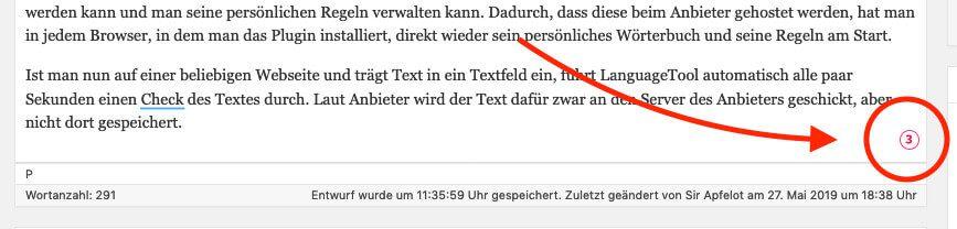 In jedem mehrzeiligen Textfeld blendet LanguageTool unten rechts ein, wieviele Fehler es gefunden hat. Die Anzeige aktualisiert sich automatisch beim Tippen.