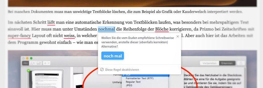 LanguageTool markiert die entsprechenden Worte im Text und mit einem Klick auf das Wort, öffnet sich ein Fenster mit Hinweisen und Optionen.