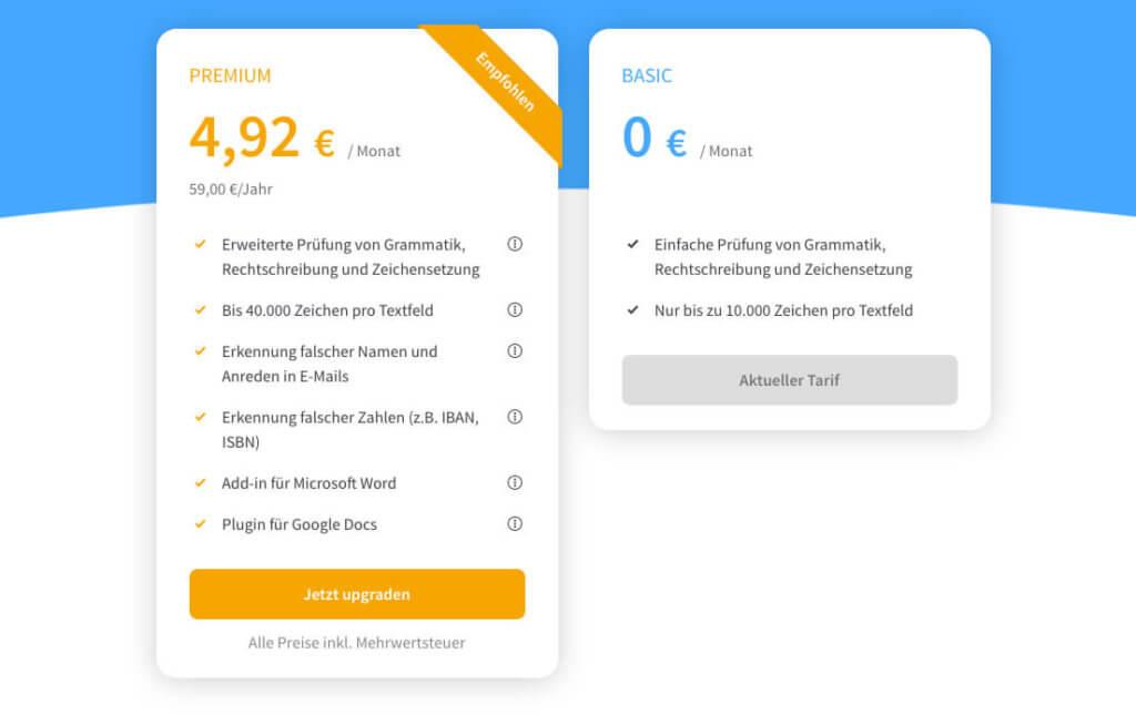 Mit knapp 60 Euro im Jahr erhält man das Upgrade auf den Premium-Account, der aus meiner Sicht die einzig vernünftige Wahl ist, wenn man die Hilfe von LanguageTool nutzen möchte.