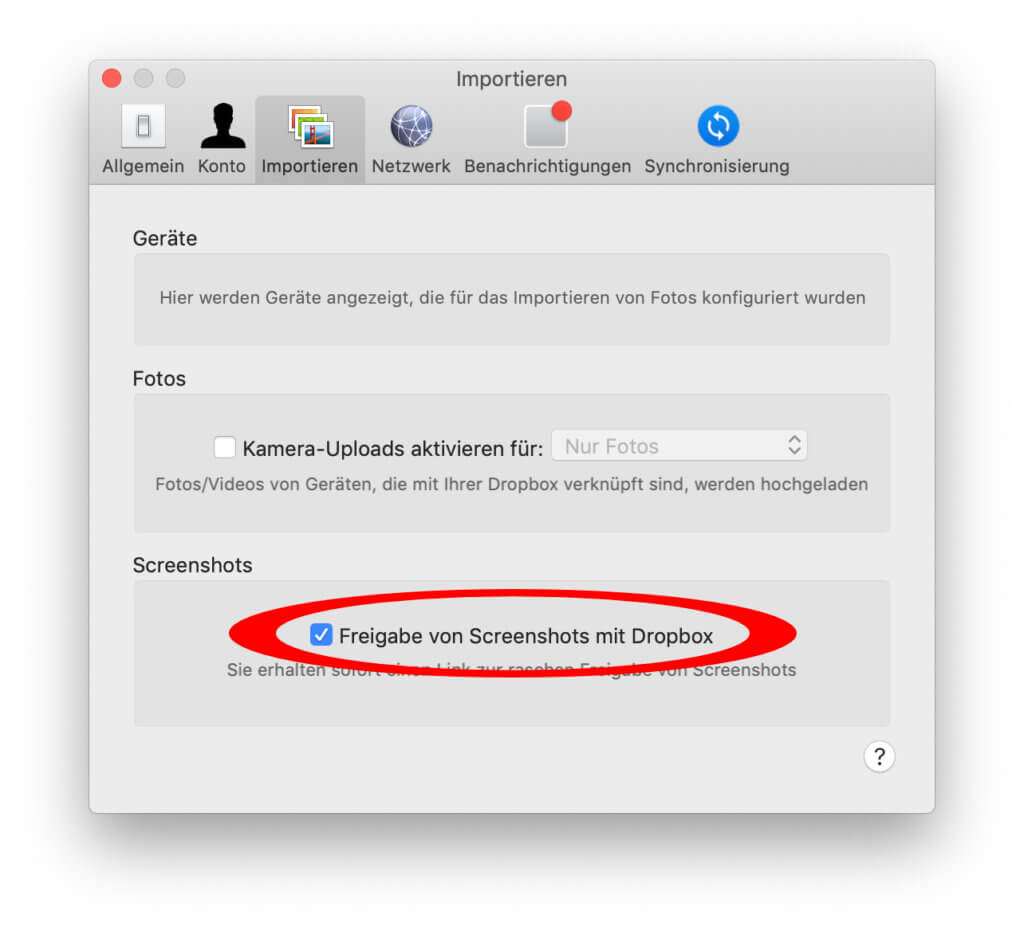 Ob Bildschirmfoto-Miniatur oder nicht – ihr könnt das Bild automatisch in der Dropbox oder bei einem anderen Dienst ablegen.