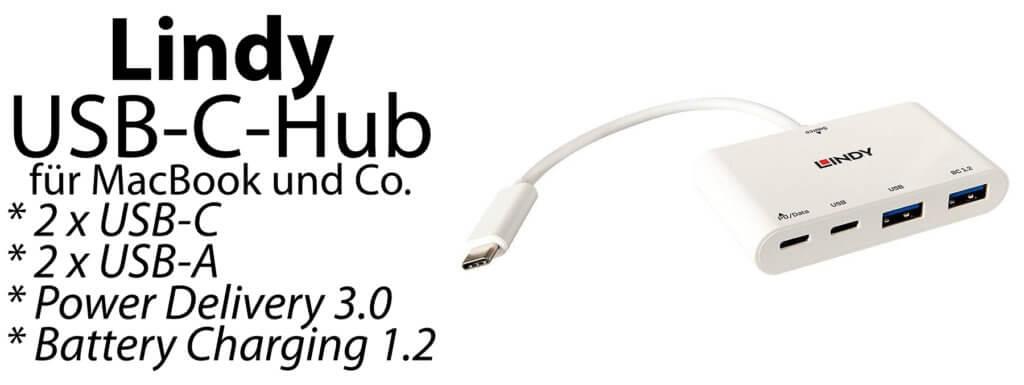 Der Lindy USB-C-Hub bietet nicht nur zwei C-Buchsen und zwei A-Buchsen, sondern auch PD 3.0 und BC 1.2. Monitore können nicht angeschlossen werden. Bild: Lindy / Amazon