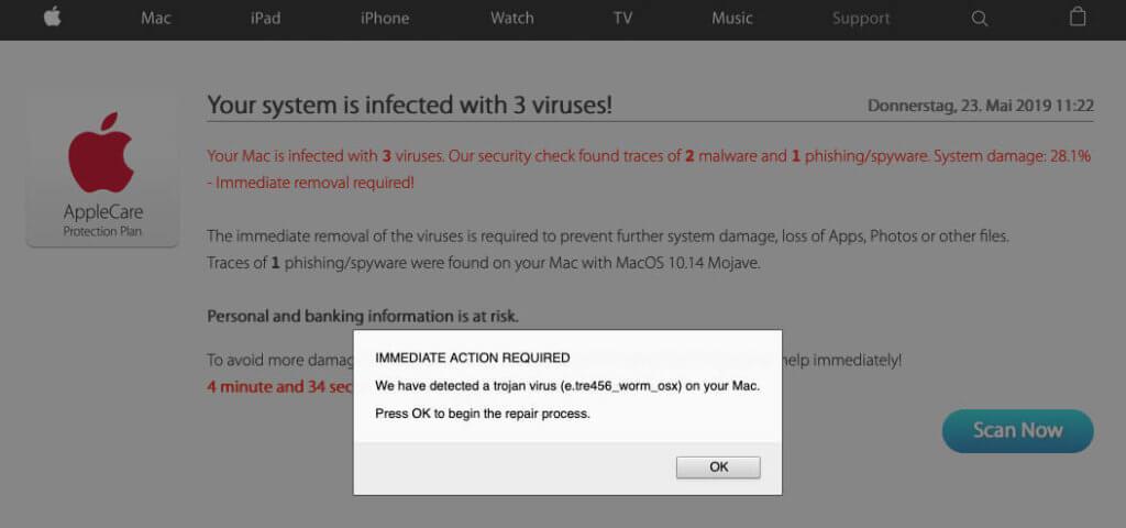 Fake-Virenscanner will auf meinem Mac Malware installieren.