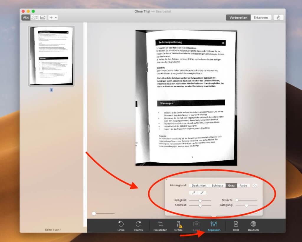 """Über den Button """"Anpassen"""" lassen sich einige Einstellungen vornehmen, damit die Bilddatei besser für eine OCR-Bearbeitung vorbereitet ist. In der Regel ist das aber nicht nötig."""